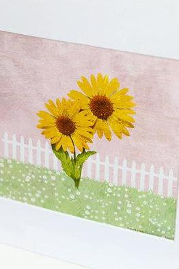 Garden Girls Yellow Sunflower Nursery Wall Art Decor Print by Caramel Expressions