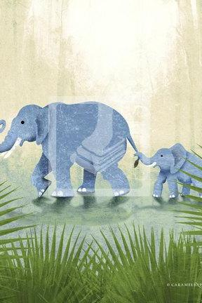 Jungle Safari Elephant Family Family Wall Art Decor Print by Caramel Expressions