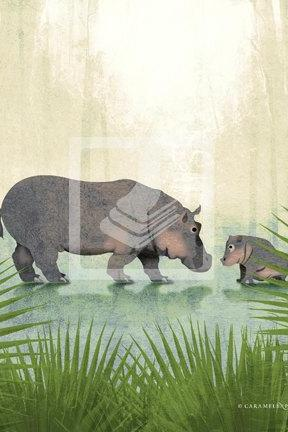 Jungle Safari Hippo Hippopotamus Family Wall Art Decor Print by Caramel Expressions