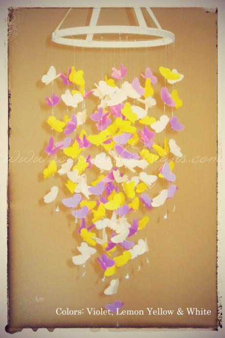 PICK 3 COLORS - MIXED - Medium Vellum Butterfly Mobile