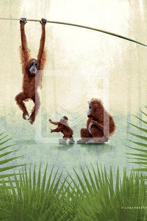 Jungle Safari Monkey Family Wall Art Decor Print by Caramel Expressions