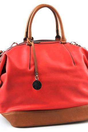 Coral Red Leather Tote Handbag, Red Tote, Red Tote, Orange Handbag, Leather Handbag, Purse, Hobo, Shopper
