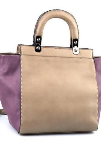 Lilac Beige Handbag. Lavender Purse. Beige Tote. Fall-Winter 2014/2015.