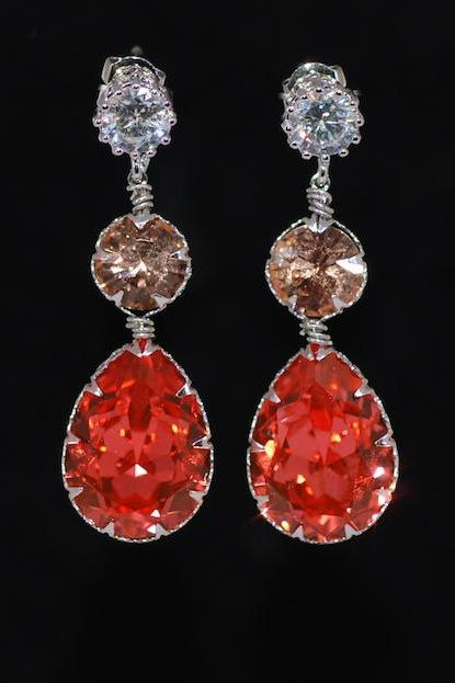 Round Cubic Zirconia Earring with Swarovski Light Peach Round, Padparadscha Teardrop Crystals - Wedding Jewelry, Bridal Earrings (E632)