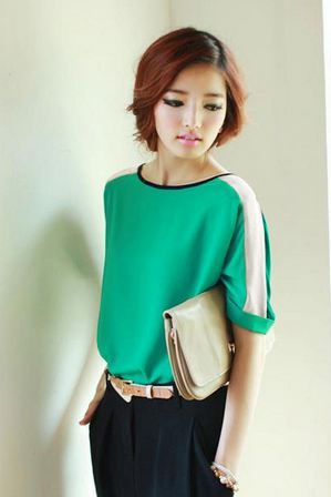 Womens Chiffon Casual Loose 3/4 Batwing Sleeve Color Block Top T-Shirt Blouse