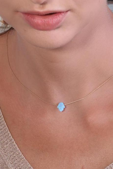 Hamsa necklace, gold necklace, opal hamsa necklace, turquoise necklace ,14k gold filled , luck necklace, blue hamsa necklace -629