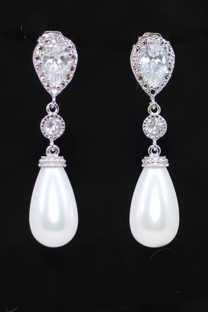 Wedding Earrings, Bridesmaid Earrings, Bridal Jewelry - Cubic Zirconia (cz) Teardrop Earring with Round CZ and White Briolette Pearl (E459)