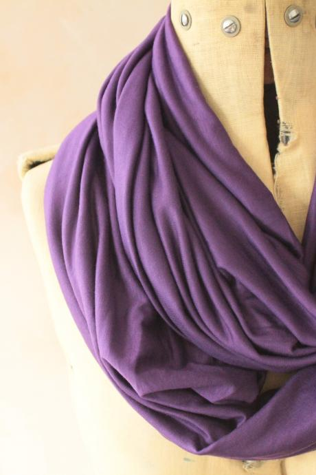 Infinity scarf - Snood, Eternity scarf, Circle scarf, Jersey scarf, Tube scarf, Loop scarf, Snood, T-Shirt scarf - Violet