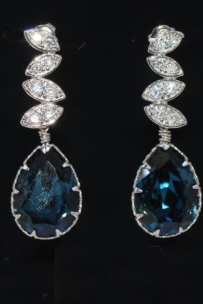 Wedding Earrings, Bridal Jewelry - Cubic Zirconia Detailed Leaves Earring with Swarovski Montana Blue Teardrop Crystal (E462)