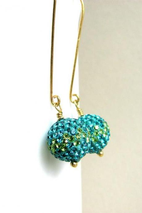 Pave Earrings, Preciosa Crystals, Teal and Lime