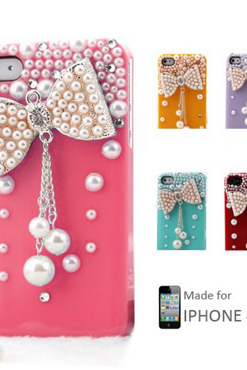 S5Q New 3D Bow Bling Crystal Pearl Hard Skin Back Case Cover For iPhone 4 4S AAAAVK