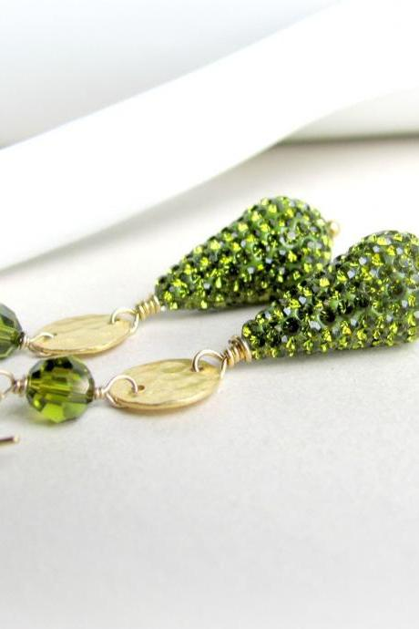 Gold and Olive Green Pave Earrings, Preciosa Crystals and Swarovski