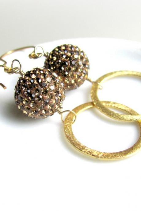 Pave Earrings, Preciosa Crystals, Mocha and 14k Vermeil Gold