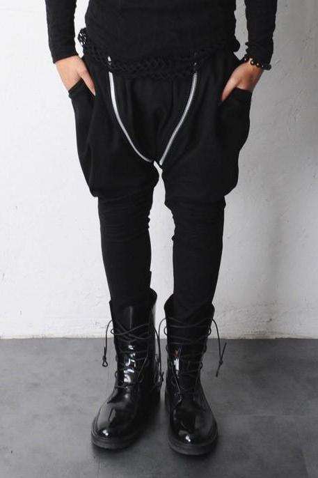 Double Diagonal Asymmetric Zipper Drop Crotch Harem Jersey Tapered Sweatpants By KOKO LIAR
