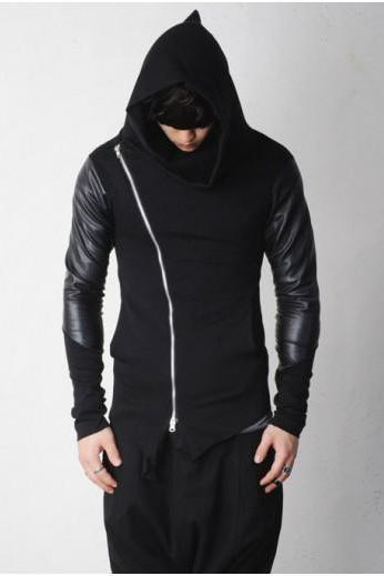 Leather Sleeve Slanted Asymmetric Zip-up Cowl Neck Avant Garde Hoodie Sweatshirt By KOKO LIAR