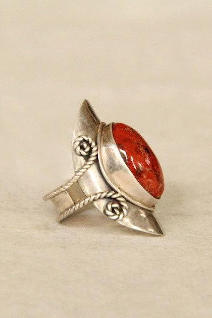 Silver Gemstone Ring, Personalized, Ethnic, Red Jasper, Free Engraving, Bohemian Ring, Jewelry Store, Navajo Ring, Tribal Ring, Red Ring