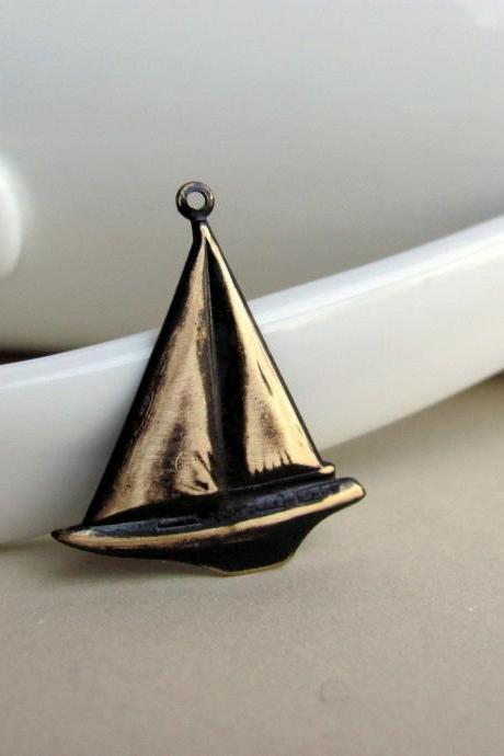 Dark Chocolate Brown Patina Sailboat Charm
