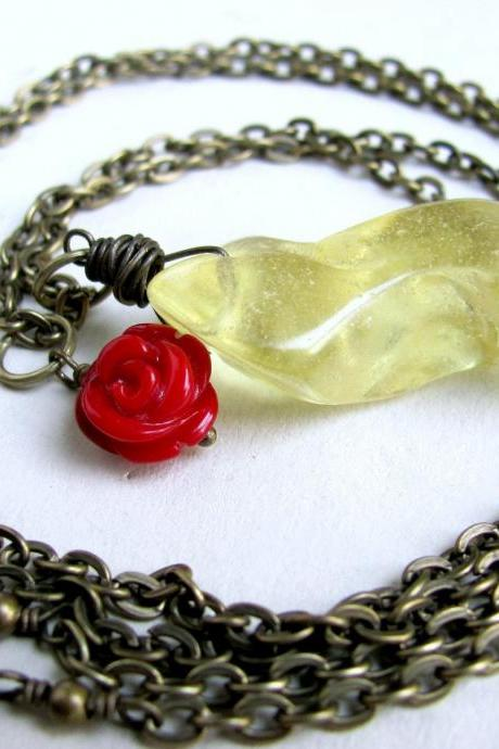 Amber Necklace Antiqued Brass Red Coral