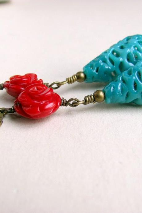 Earrings Vintage Red and Blue Retro