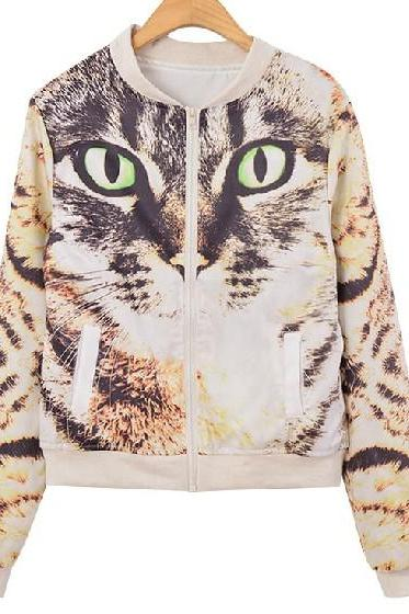 Harajuku Cat Printed Jacket