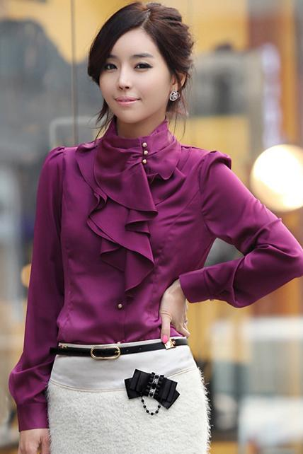 Laconic Mandarin Collar Puff Sleeve Ruffled Rayon Shirt - Purple