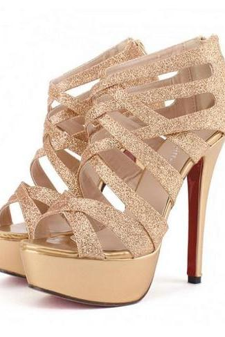 Sexy Metallic Gold Strappy High Heel Pumps