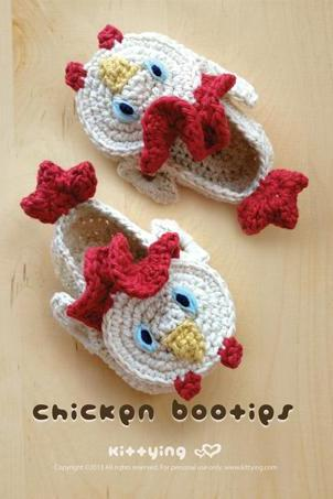 Chicken Rooster Cockerel Cock Baby Booties 2 Crochet PATTERN PDF - Chart & Written Pattern by kittying