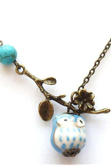 Antiqued Brass Leaf Turquoise Porcelain Owl Necklace