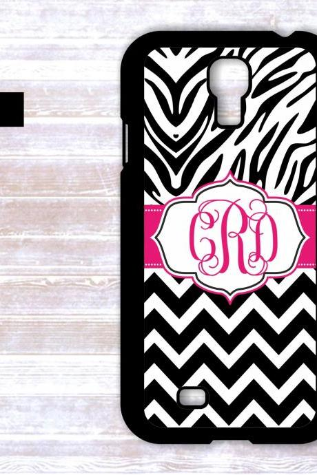 Monogrammed Zebra Print Chevron Case - Personalized iPhone Case Samsung Galaxy Cover
