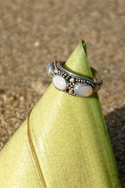 Triple Moonstone Ring, Statement Personalized, Engraving, Personalized, Moonstone, Gemstone, Gypsy, High Fashion, 925 Sterling Silver, Ring,