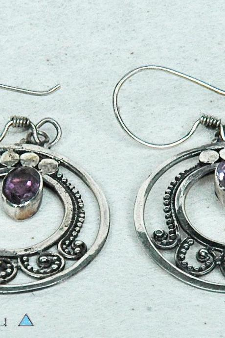 Gemstone Earrings, Light Dangle Earrings, Amethyst & 925 Sterling Silver Earrings, Jewelry, Bohemian Earrings, Delicate Earrings