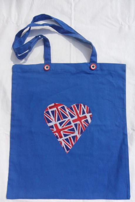 Cotton Eco Shopping Bag with Union Jack Heart Applique Design - various colours