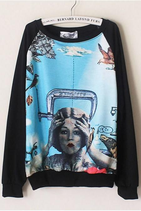 Korean New Fashion Women Hand Painted Sweatershirt Long Sleeve O-Neck Vintage Loose Casual Shirt 8613#