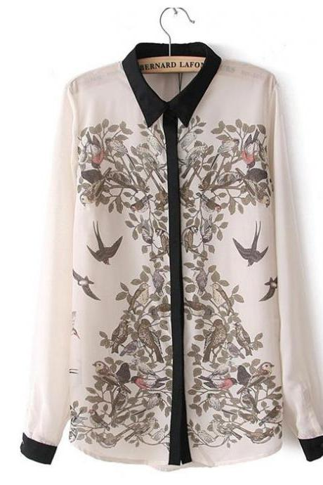 shirt n495 spring and summer European style hand-painted Ink magpie long-sleeved s