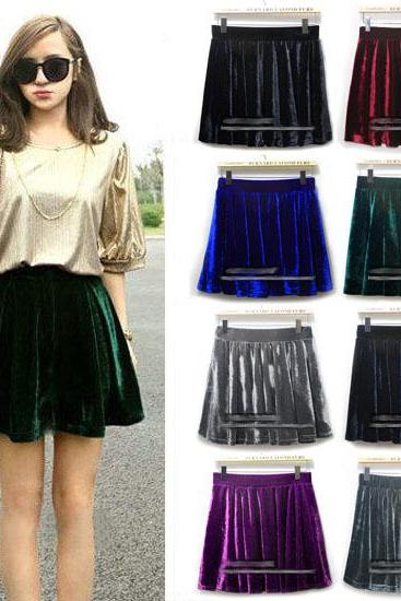 Retro High Waisted Velvet Skirt