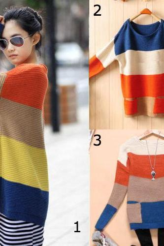Fashion Korean Yards Loose Round Neck Striped Pocket Color Clock Sweater 3 Colors