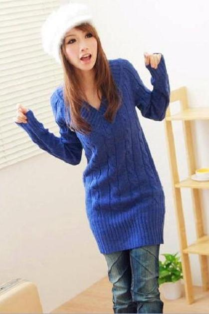 A161 2013 women new fashion 10 colors twisted pattern o neck v neck long sleeve long design sweaters dress winter pullover sweater dresses