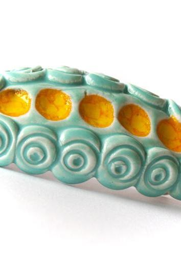 Aqua and yellow barrette, ceramic barrette, clay barrette, hair accessories spring summer collection