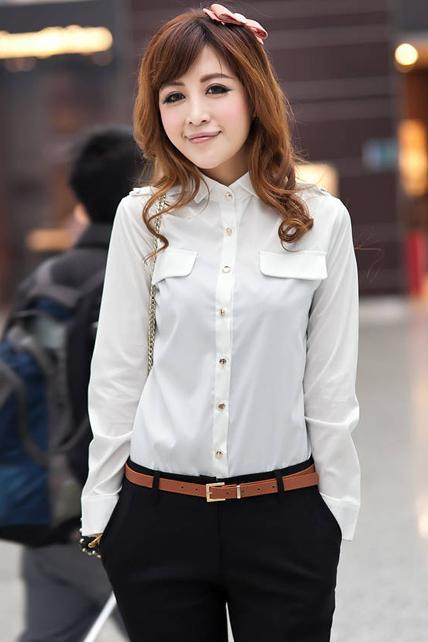 New Solid Long Sleeve Blouse for Woman - White