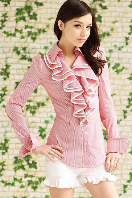 Ladylike Striped Turndown Collar Shirts with Frill- Pink