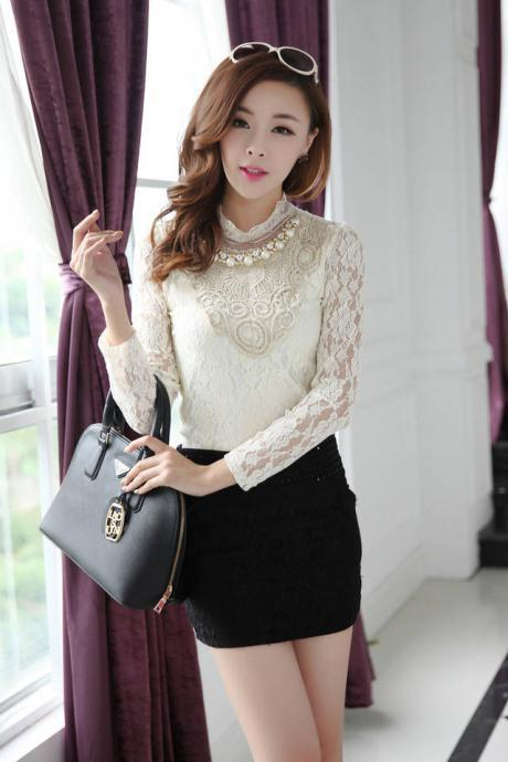 Beautiful Lace Detail Long Sleeve Blouse