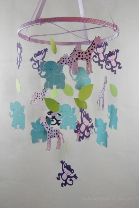 Monkey, Elephant and Giraffe Nursery Decorative Mobile in Purple