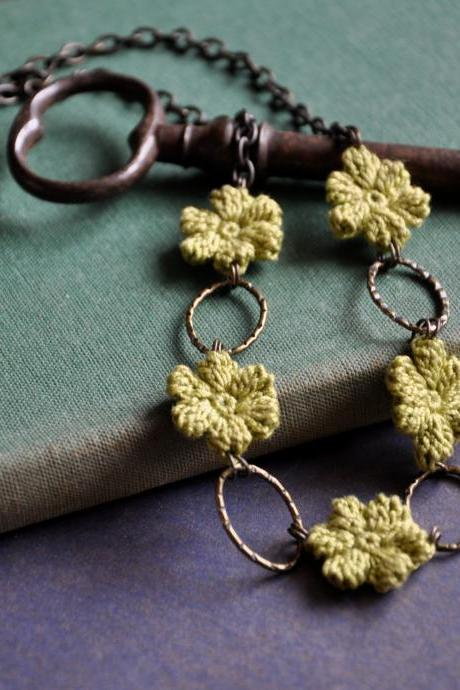 Olive Green Flower Necklace MADE TO ORDER