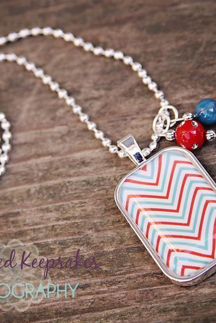 Chevron Love Glass Pendant Necklace Red/Blue