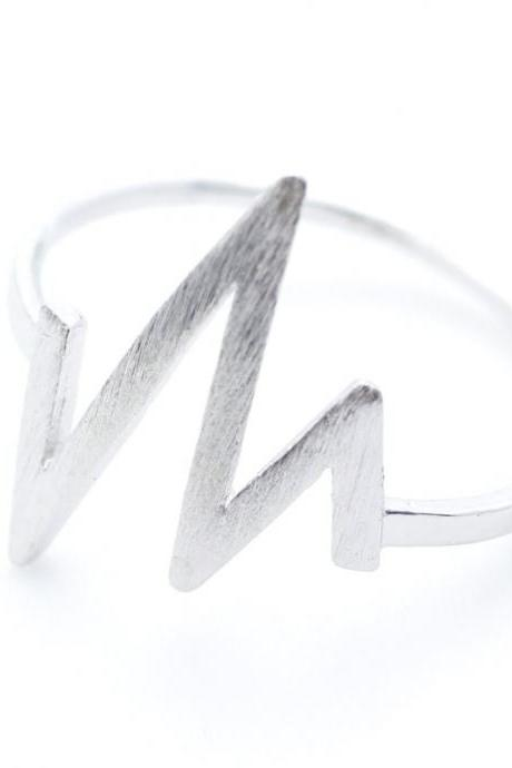 Chic Urban ZigZag Wave Pattern Ring in Silver