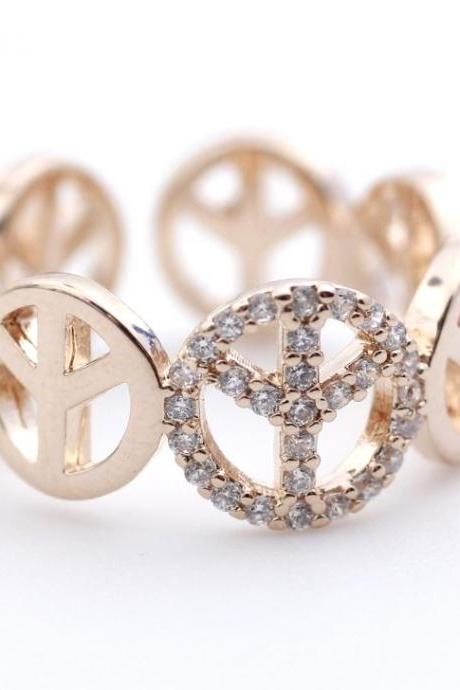 Peace sign Ring detailed with CZ in Rose Gold- Adjustable Ring