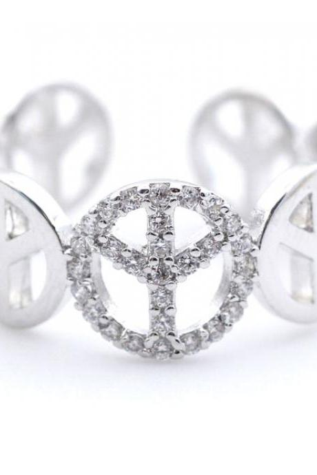 Peace sign Ring detailed with CZ in Silver - Adjustable Ring