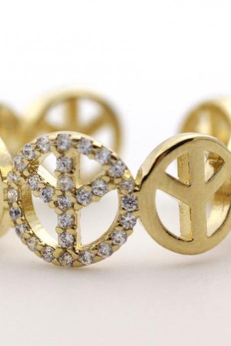 Peace sign Ring detailed with CZ in Gold - Adjustable Ring