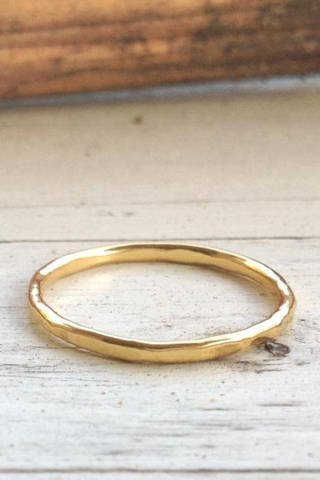 Stacking rings, gold ring, thin gold ring, above knuckle ring, hammered ring, simple ring, gold knuckle ring- RB1