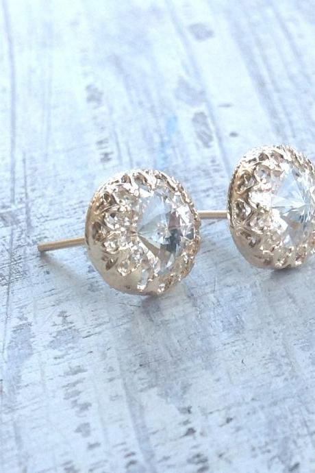 Gold earrings, crystal stud earrings, stud earrings, classic earrings, wedding earrings, Gold filled earrings - 6100